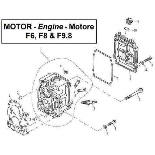 Parsun Buitenboordmotor F6, F8 & F9.8 Cylinder Head onderdelen