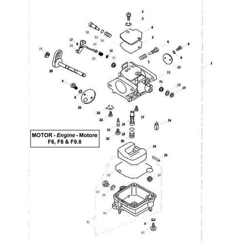 Parsun Buitenboordmotor F6, F8 & F9.8 Carburetor onderdelen