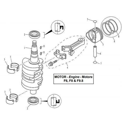 Parsun Buitenboordmotor F6, F8 & F9.8 Crankshaft & Piston onderdelen