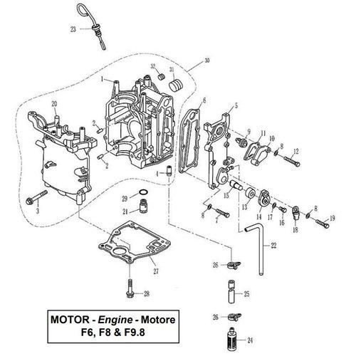 Parsun Buitenboordmotor F6, F8 & F9.8 Crankcase onderdelen