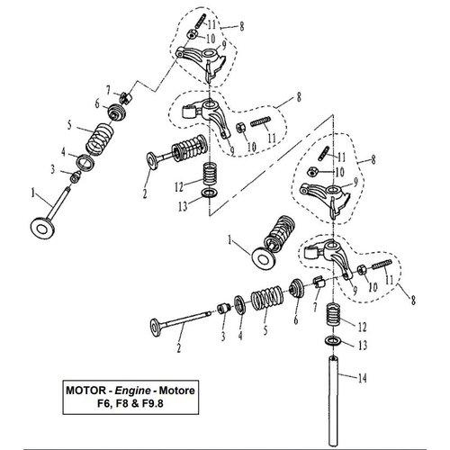 Parsun Buitenboordmotor F6, F8 & F9.8 Valve onderdelen