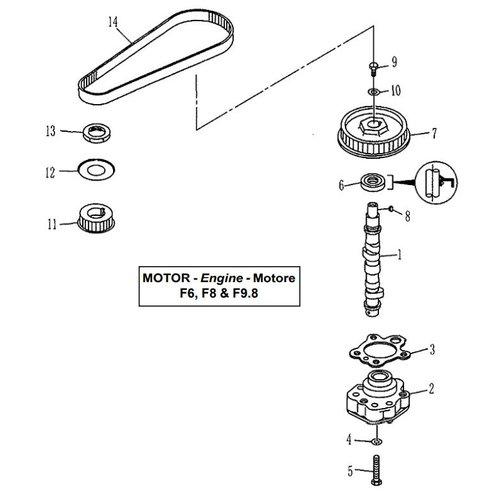 Parsun Buitenboordmotor F6, F8 & F9.8 Camshaft onderdelen