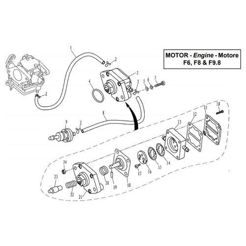 Parsun Buitenboordmotor F6, F8 & F9.8 Fuel System onderdelen