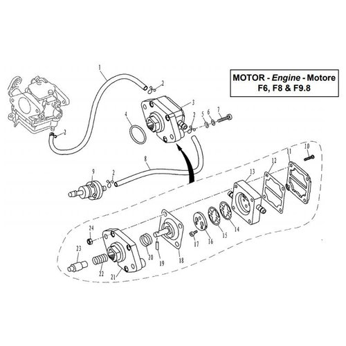 Parsun Outboard Engine F6, F8 & F9.8 Fuel System Parts