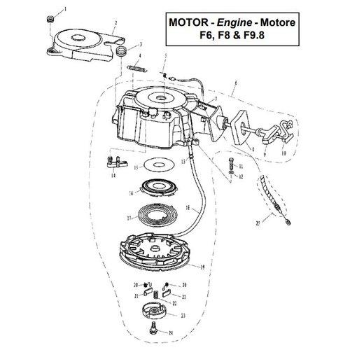 Parsun Buitenboordmotor F6, F8 & F9.8 Starter Assy onderdelen
