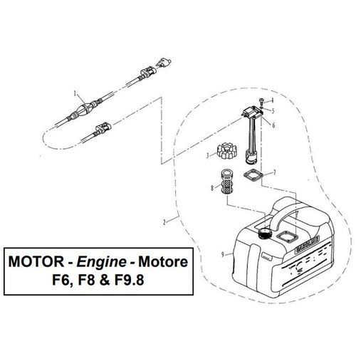 Parsun Buitenboordmotor F6, F8 & F9.8 Fuel Tank onderdelen