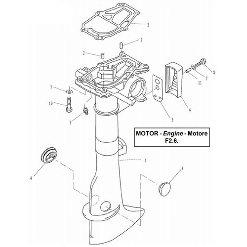 Parsun Buitenboordmotor F2.6 Upper Casing onderdelen
