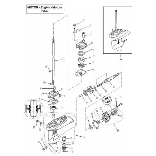 Parsun Buitenboordmotor F2.6 Lower Casing & Drive 1 onderdelen