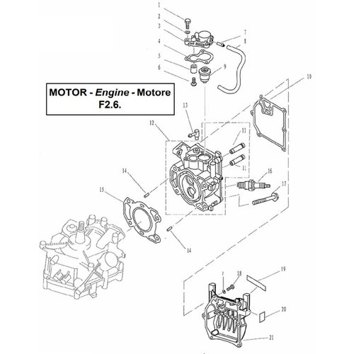 Parsun Outboard Engine F2.6 Cylinder & Crankcase 1 Parts