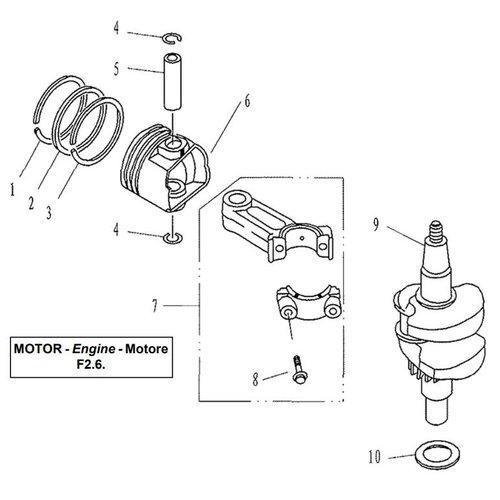 Parsun Buitenboordmotor F2.6 Crankshaft & Piston onderdelen