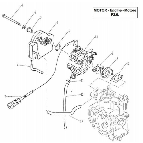 Parsun Buitenboordmotor F2.6 Intake onderdelen