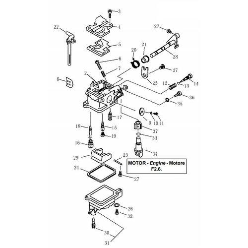 Parsun Buitenboordmotor F2.6 Carburetor onderdelen