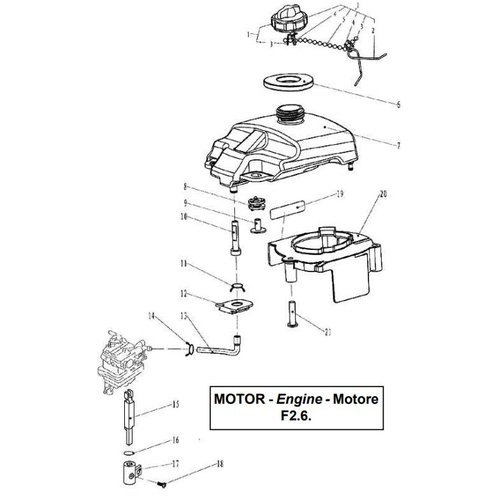 Parsun Buitenboordmotor F2.6 Fuel onderdelen