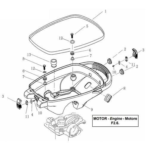 Parsun Buitenboordmotor F2.6 Bottom Cowling onderdelen