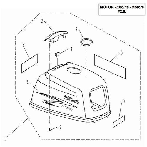 Parsun Buitenboordmotor F2.6 Top Cowling onderdelen
