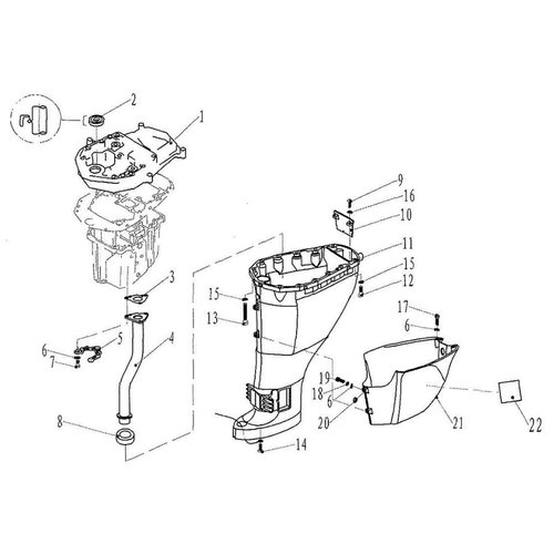 Parsun Outboard Engine F20 & F25 Upper Casing Parts