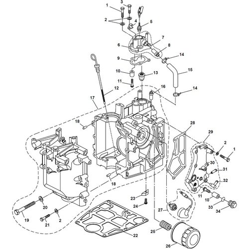 Parsun Buitenboordmotor F20A (F15A) BM (FW) Crankcase onderdelen
