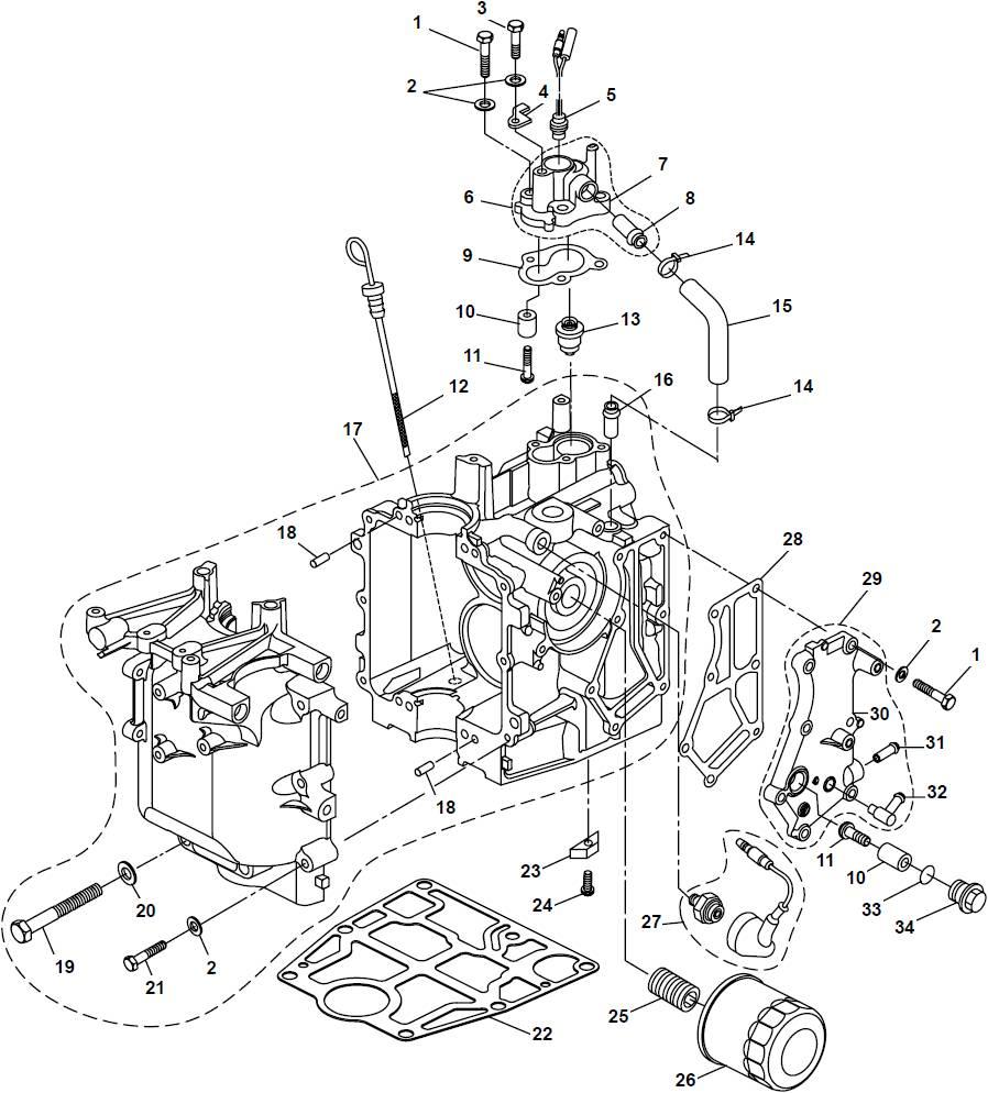 Parsun Buitenboordmotor F20A (F15A) BM (FW) Crankcase onderdelen.jpg