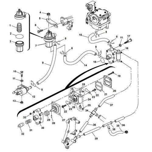 Parsun Buitenboordmotor F20A (F15A) BM (FW) Fuel System onderdelen
