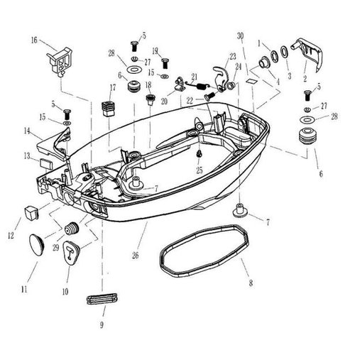 Parsun Buitenboordmotor F20 & F25 Bottom Cowling onderdelen