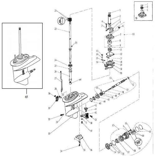 Parsun Buitenboordmotor F20 & F25 Lower Casing & Drive 1 onderdelen