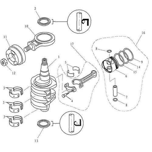 Parsun Buitenboordmotor F20 & F25 Crankshaft & Piston onderdelen