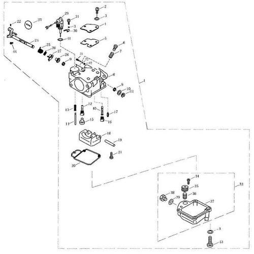 Parsun Buitenboordmotor F20 & F25 Carburetor onderdelen