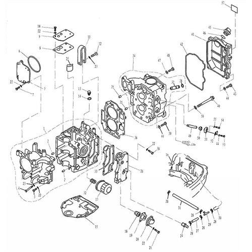 Parsun Buitenboordmotor F20 & F25 Cylinder & Crankcase onderdelen