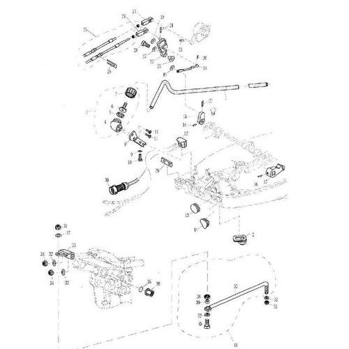 Parsun Buitenboordmotor F20 & F25 Electric Start Bottom Cowling & Bracket onderdelen