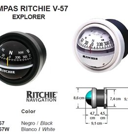 Ritchie Compass for power boats up to 24 feet, black/white (RITCHIE V-57)
