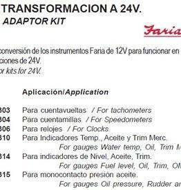 Faria 24V ombouw kit klokken van 12 naar 24 V