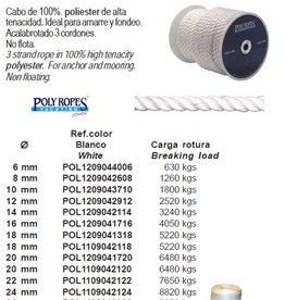 Anker touw 3 strengs wit/blauw/zwart Per meter