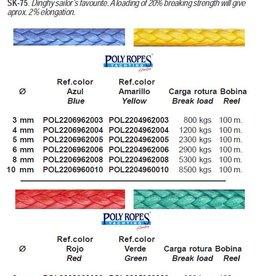 Poly ropes Dyneema 12-strand braided rope per meter
