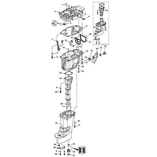 Yamaha/Parsun Buitenboordmotor F15A (F20A) BM (FW) Upper Casing onderdelen