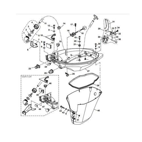 Yamaha/Parsun Buitenboordmotor F15A (F20A) BM (FW) Bottom Cowling onderdelen
