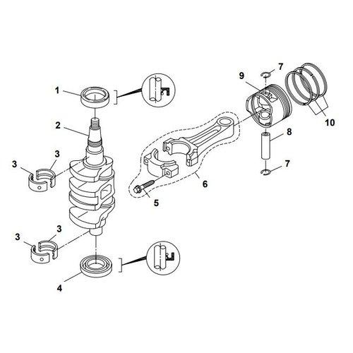 Yamaha/Parsun Buitenboordmotor F20A (F15A) BM (FW) Crankshaft & Piston onderdelen