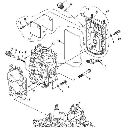 Yamaha/Parsun Buitenboordmotor F15A (F20A) BM (FW) Cylinder Head onderdelen