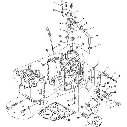 Yamaha/Parsun Buitenboordmotor F15A (F20A) BM (FW) Crankcase onderdelen