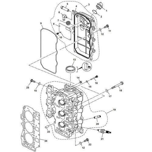 Parsun Buitenboordmotor F40 Cylinder Head onderdelen.