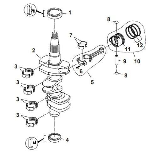 Parsun Buitenboordmotor F40 Crankshaft & Pistons Onderdelen