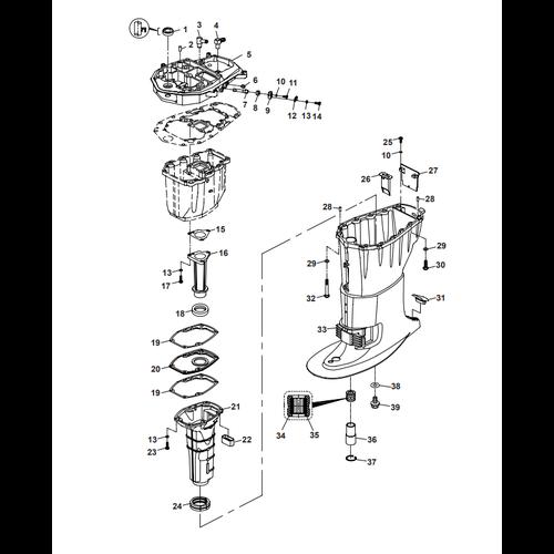 Parsun Buitenboordmotor F40 Upper Casing Onderdelen