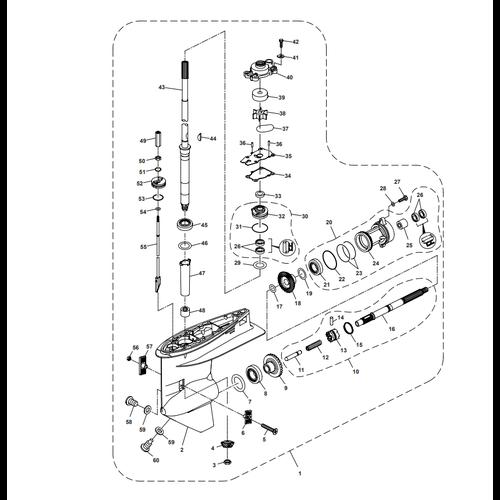 Parsun Buitenboordmotor F40 Lower Casing & Drive 1 Onderdelen