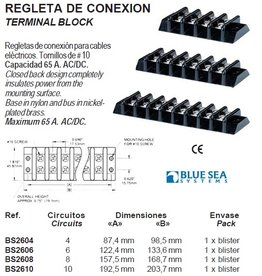 Terminal ∅ 10 rails/blokken max 65 Amp