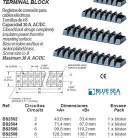 Blue Systems Terminal ∅ 8 rails/blokken max 30 Amp