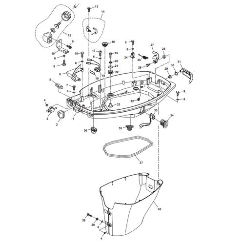 Parsun Outboard Engine F50 & F60 Bottom Cowling Parts