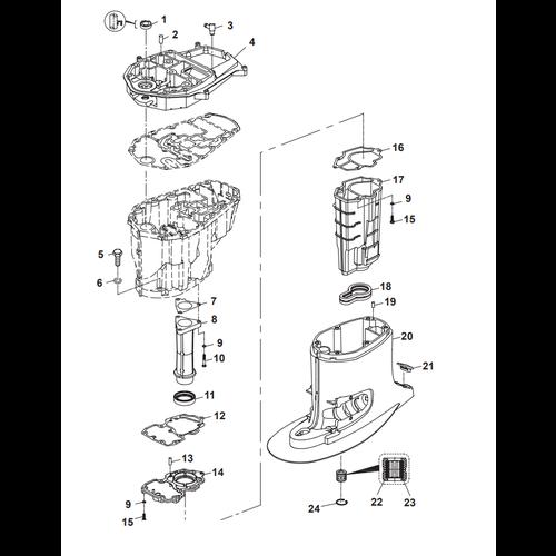 Parsun Buitenboordmotor F50 & F60 Upper Casing Onderdelen