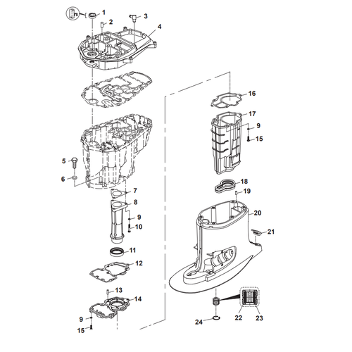 Parsun Outboard Engine F50 & F60 Upper Casing Parts