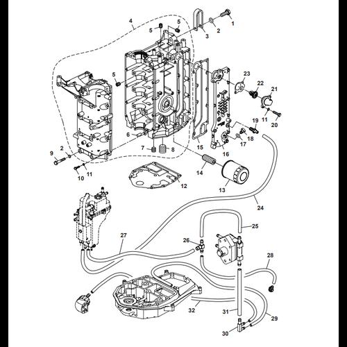 Parsun Buitenboordmotor F50 & F60 Crankcase Onderdelen