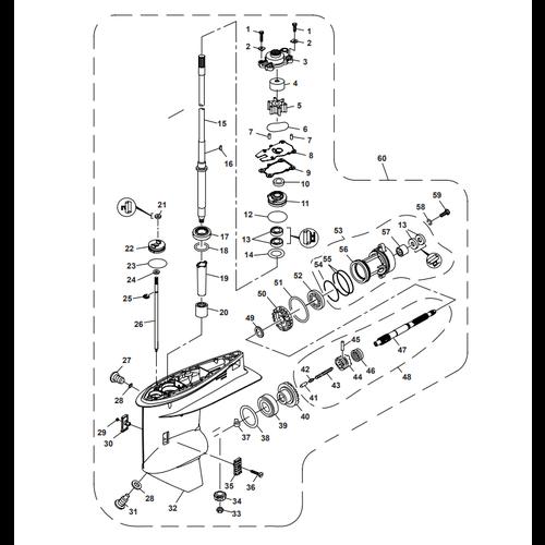 Parsun Buitenboordmotor F50 & F60 Lower Casing & Drive 1 Onderdelen