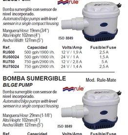 Rule Automatische Bilge pomp met level SENSOR 1900 t/m 4200 l/h 12/24V